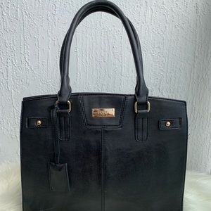 BCBG Paris black faux leather handbag